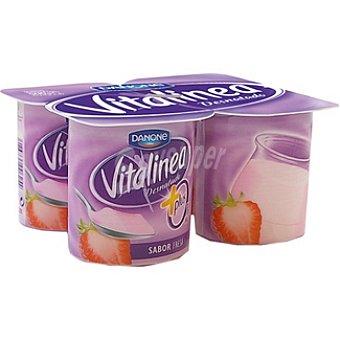 Vitalínea Danone Yogur desnatado 0% plus sabor fresa Pack 4 envase 125 g