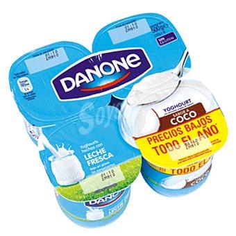 DANONE yogur plátano pack 4 unidades 125 g