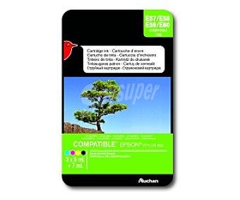 Auchan Cartucho Color T1285 (E57/58/59/60) - Compatible con impresoras: epson Sytlus S22 / SX125 / SX130 / SX230 / SX235W / SX420W /SX425W / SX430 SX435 / SX440W / SX445W epson Stylus Office BX305F / BX305FW