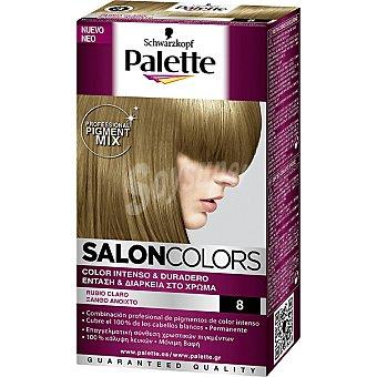Schwarzkopf Palette Tinte nº 8 Rubio Claro color intenso y duradero Salon Colors Caja 1 unidad