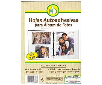 Productos Económicos Alcampo Bolsa de 20 hojas autoadhesivas de recambio para albumes de fotos de 4 anillas 1 unidad