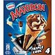 Cono con helado de triple chocolate decorado con cereales 4 unidades Maxibon Nestlé