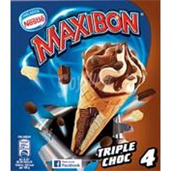Maxibon Nestlé Cono con helado de triple chocolate decorado con cereales 4 unidades