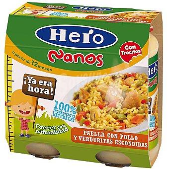 HERO NANOS Paella con pollo y verduritas escondidas +12 meses 2x250g estuche 500 g 2x250g