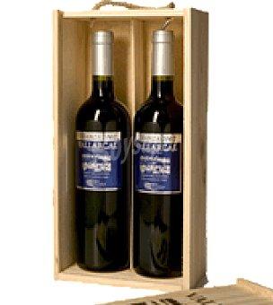 Vallarcal Estuche madera vino tinto crianza D.O. Ribera del Guadiana Pack 2x75 cl