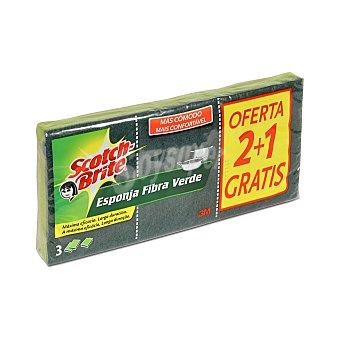 Scotch Brite Estropajo esponja fibra verde Paquete 3 ud