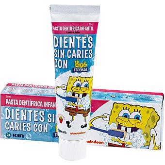 Kin Pasta dentífrica infantil fluorada Bob Esponja de 2 a 6 años sabor fresa tubo 50 ml Tubo 50 ml
