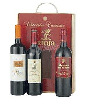 O Estuche madera con 3 botellas de vino Selección Crianzas D. Ca. Rioja 75 cl
