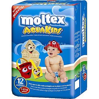 Moltex Pañal bañador Aqua Kids desechable 7 a 12 kg  paquete 12 unidades