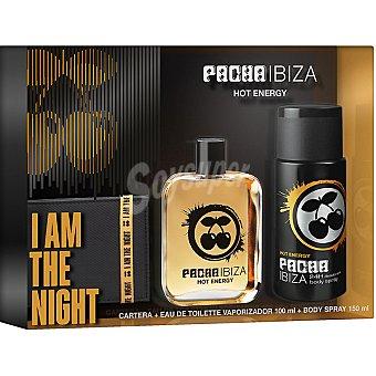 Pachá Ibiza Hot Energy eau de toilette masculina vaporizador + desodorante spray 150 ml + cartera 100 ml