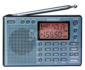 SUNSTECH RPDS800 Radio portatil Digital, con sintonizador de radio am/fm, altavoz frontal, memoria para 550 emisoras y alarma
