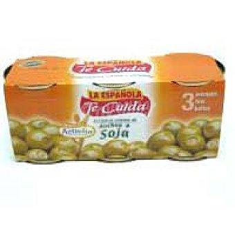 La Española Aceitunas rellenas de anchoa soja Pack 3x36 g