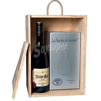 Monte Real Vino tinto reserva D.O. Rioja + decantador de cristal de Bohemia Estuche madera Botella 1,5 cl