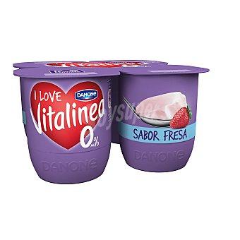 DANONE VITALINEA Yogur desnatado sabor fresa pack 4 unidades 125 g