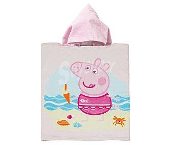 Auchan Toalla poncho infantil de playa con estampado diseño Peppa Pig, 50x115 centímetros, tejido velour con densidad de 300 gramos/m² 1 unidad