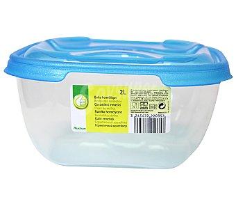 Productos Económicos Alcampo Recipiente hermético cuadrado de plástico con tapa, 2 litros 1 Unidad