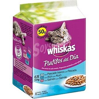Whiskas Platitos del dia seleccion de pescados en salsa para gato pack 6 bolsa 50 g Pack 6 bolsa 50 g