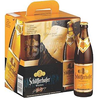 SCHÖFFERHOFER Dunkel Cerveza rubia turbia de trigo alemana pack 5 botella 50 cl + un vaso de regalo Pack 5 botella 50 cl