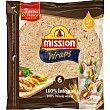 Wraps 100% integrales sin aceite de palma 6 unidades Paquete 348 g Mission