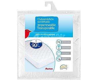 AUCHAN Cubre colchón impermeable y transpirable de microfibra, 90 centímetros 1 Unidad