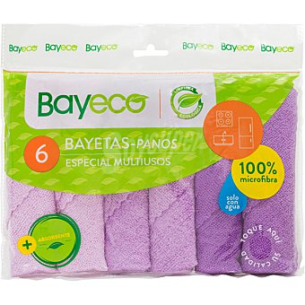 Bayeco bayeta microfibra colores envase 6 unidades
