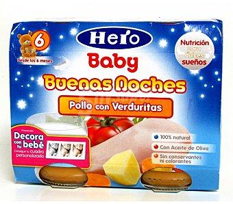 Hero Baby Tarrito de pollo con verduritas Noches 100% natural 2x190g envase 380 g 2x190g