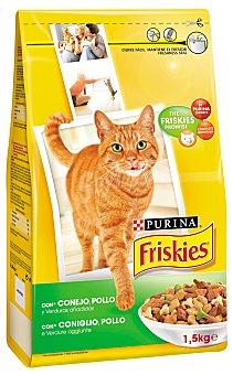 Friskies Purina Comida para gatos adultos con conejo pollo y verduras  Paquete de 1,5 kg