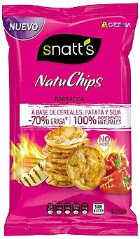 Grefusa Snatt's Natuchips Barbacoa a base de cereales, patata y soja 100% ingredientes generales Envase 85 g