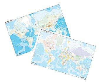 ERIK Pack de 10 mapa mudos del mundo, 5 mapas mudos políticos y 5 físicos de 32,4x22,5 centímetros Pack de 10 unidades