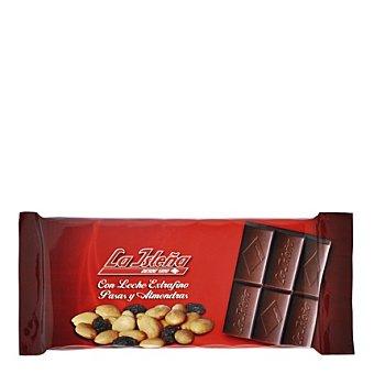 La Isleña Chocolate con leche extrafino con almendras y pasas 150 g