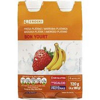 Eroski Bonyourt de fresa-plátano Pack 4x180 g