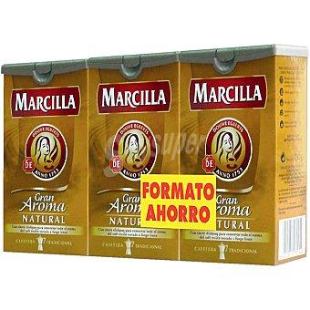 Marcilla Café molido natural Gran Aroma pack 3 envases 250 g