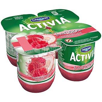 Activia Danone Yogur fruitfusion frambuesa / litchi Pack 4 unidades 125 g
