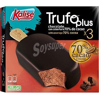 Kalise Trufo Plus helado bombón de chocolate con cobertura de cacao 70% 3 unidades sin gluten Estuche 180 g
