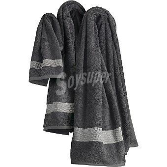 CASACTUAL Irene juego de 3 toallas Jacquard en color gris con cenefa