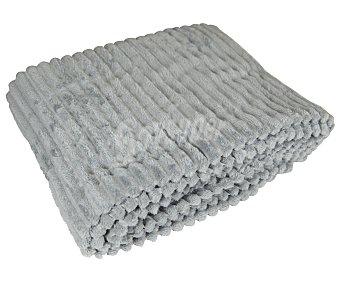 Actuel Plaid velour tejido canalé color gris claro, 125x150cm., ACTUEL.