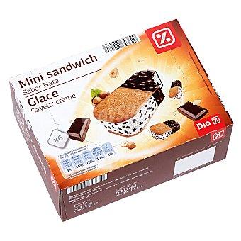 DIA Mini sandwich sabor nata glace con trozos de chocolate caja 6 ud 312gr 6 ud 312gr