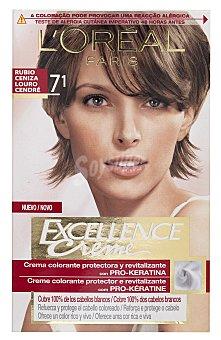 Excellence L'Oréal Paris Tinte Rubio Ceniza nº 7.1 crema color triple cuidado caja 1 unidad con Pro-keratina + Ceramida + Colágeno Caja 1 unidad
