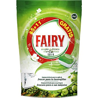 FAIRY limpio & fresco detergente lavavajillas Fresh Manzana todo en + 11 gratis 1 envase 45 unidades