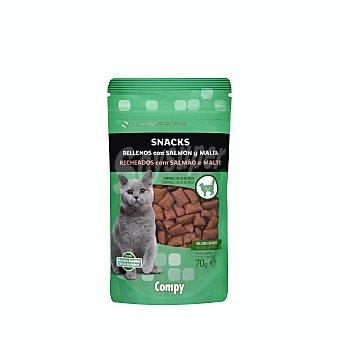 Compy Comida de gato snack bocaditos rellenos de salmón y malta Paquete 70 g