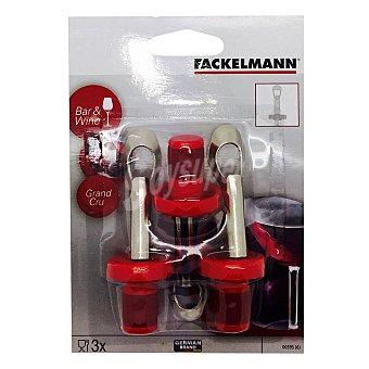 Fackelmann 3 Tapones herméticos para botellas Bar & Wine 10cm. - Rojo 3 ud