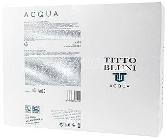 Titto Bluni Estuche regalo con colonia para hombre de 75 mililitros y desodorante en spray de 150 mililitros, Acqua 1 unidad