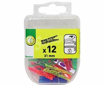 Productos Económicos Alcampo Caja de 12 pinzas de plástico de 36 milímetros y de diferentes colores 1 unidad