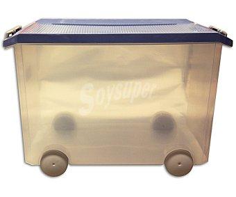 TATAY Caja de ordenación multiusos con tapa de pláctico color azul lavanda, 60 litros 1 Unidad