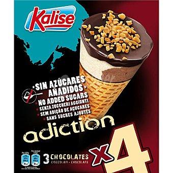 Kalise Adiction, conos de heladohocolates sin azúcares añadidos 4 unidades, estuche 480 ml