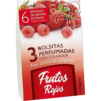 Myhome Ambientador para armarios y cajones en bolsitas perfumadas fragancia frutos rojos paquete 3 unidades