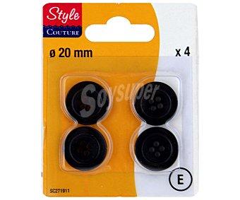 STYLE Pack de 4 botones de 20 milímetros para traje caballero, color negro 1 Unidad