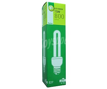 Productos Económicos Alcampo Bombilla bajo consumo tubo 15 Watios, casquillo E27 (grueso), luz cálida 1 unidad