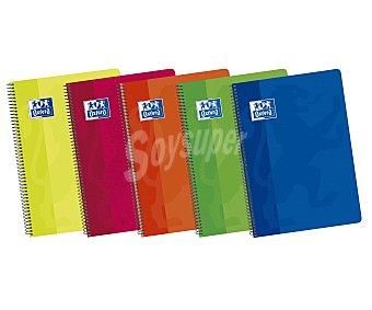Oxford Cuaderno A4 con cuadricula de 4x4 milímetros, 80 hojas de con margen, tapas de polipropileno de alta resistencia y encuadernación con espiral metálica oxford 90 gramos