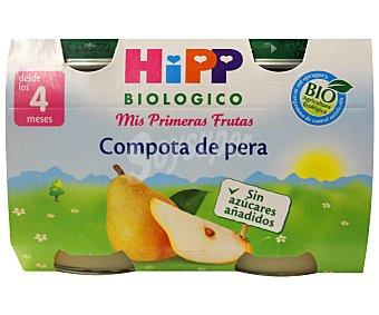 HiPP Biológico Tarrito de compota de pera ecológico sin gluten 2x125g